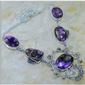 Dyed Dendritic Opal Handcrafted Necklace 925